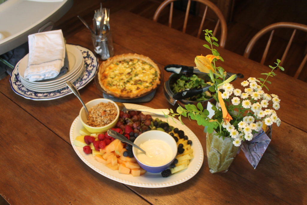 Spinach and Sausage Quiche, Fruit with Yogurt and Granola