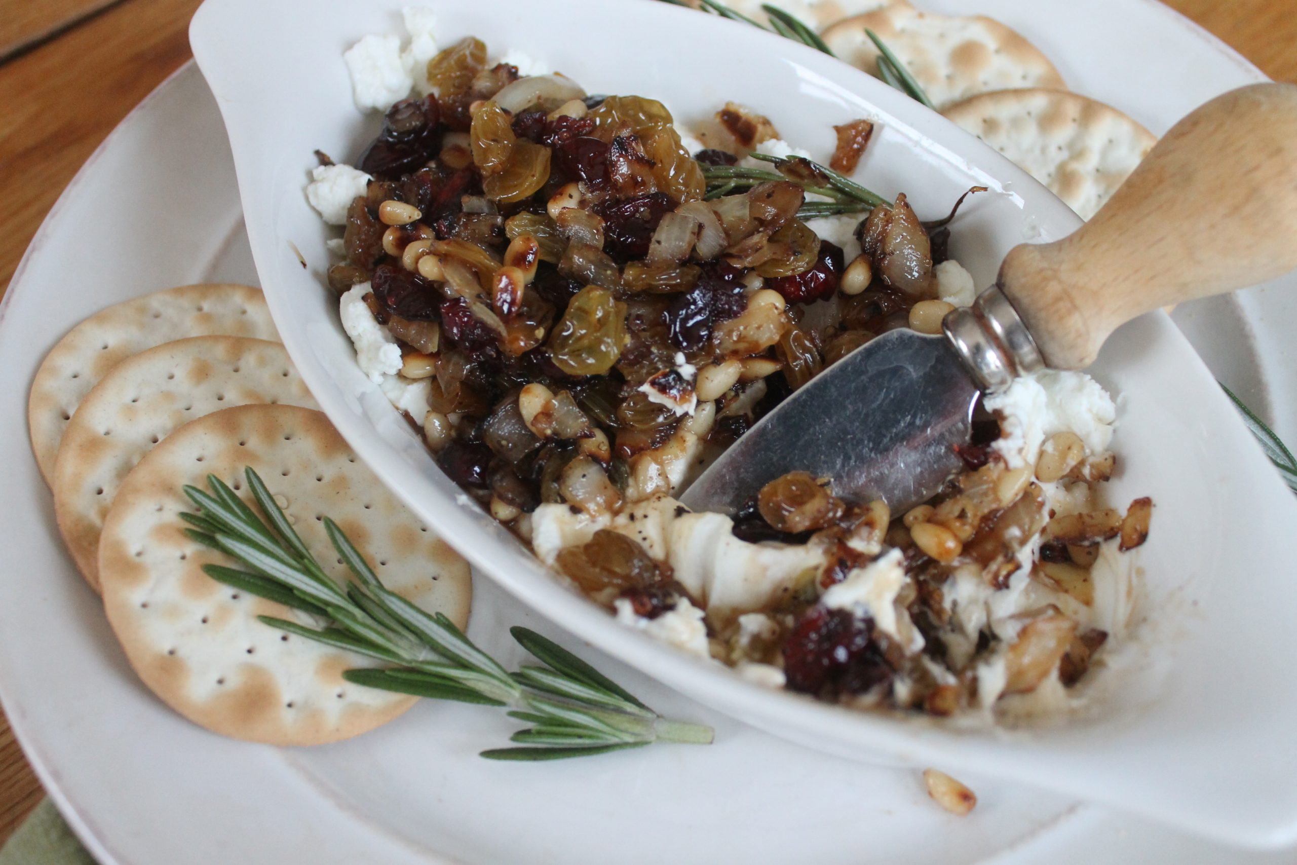 Raisin Pine Nut Goat Cheese Appetizer
